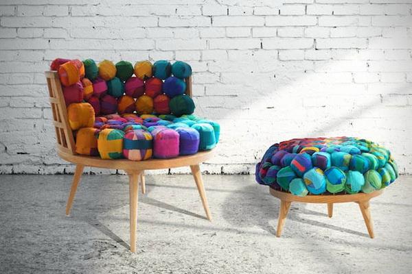 Мебель, созданная из обрезков шелка