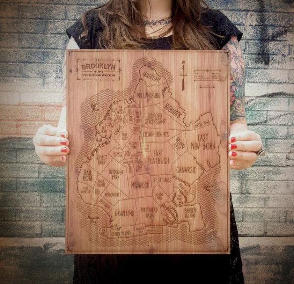 Карта Бруклина на деревянной доске