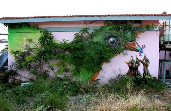Уличный художник Wild Drawing. Афины, Греция.