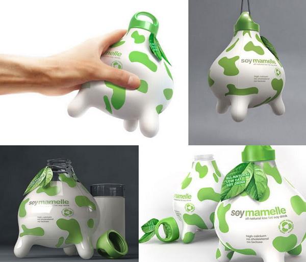 упаковка молока в виде коровьего вымени