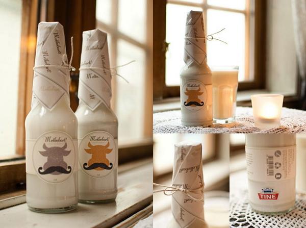 необычная упаковка молока, иммитирующая пиво