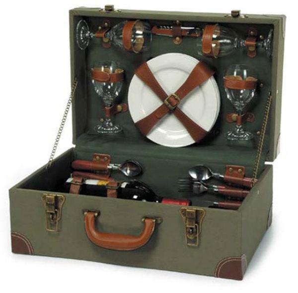 корзина для пикника, имитирующая старинный чемодан