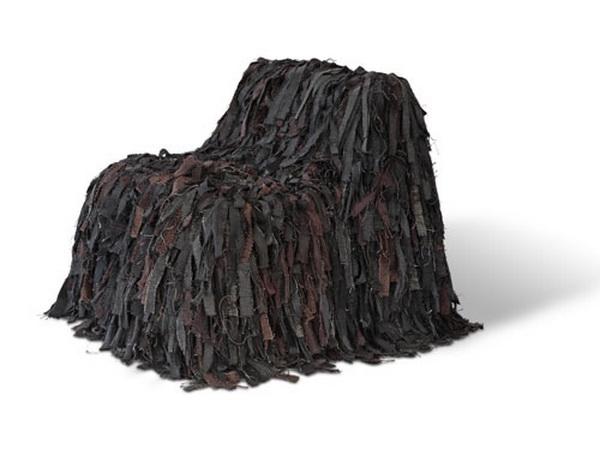Кресло PULI, обтянутое обрезками текстиля, шерсти и кожи