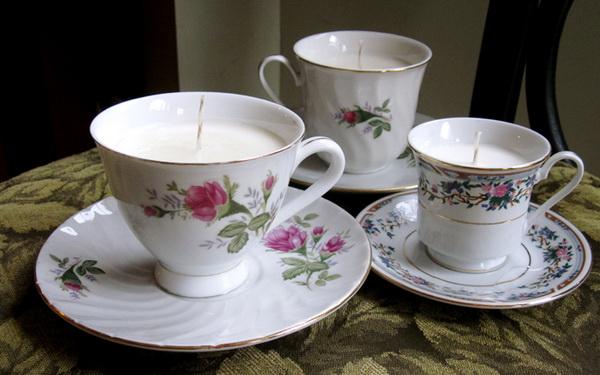 гелевые свечи из чайного сервиза