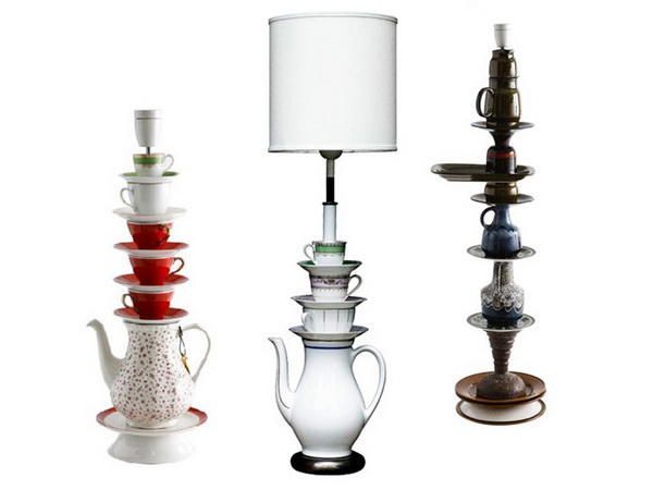 оригинальные лампы из чайных сервизов