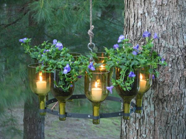 горшки для цветов и подсвечники из бутылок