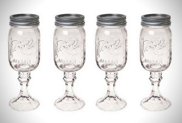 оригинальные бокалы из банок