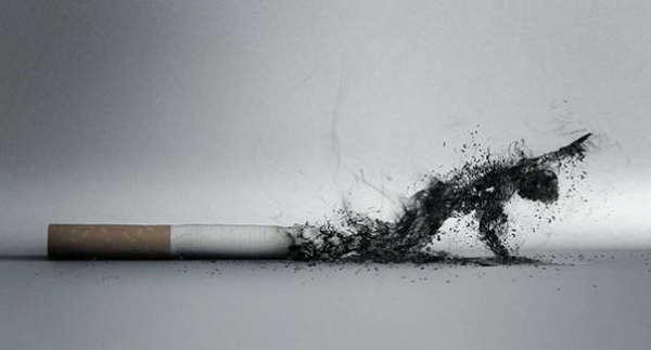 курильщик в виде сигаретного дыма