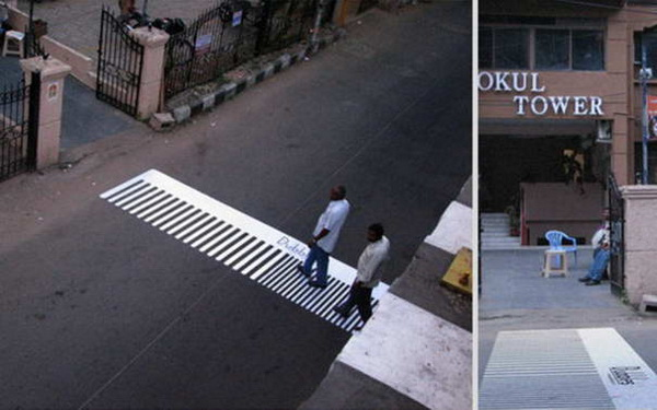 расческа в качестве пешеходного перехода