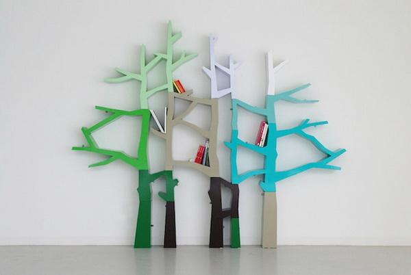 книжная полка в виде дерева