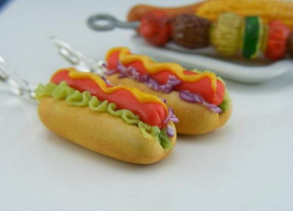серьги в виде хот-дога