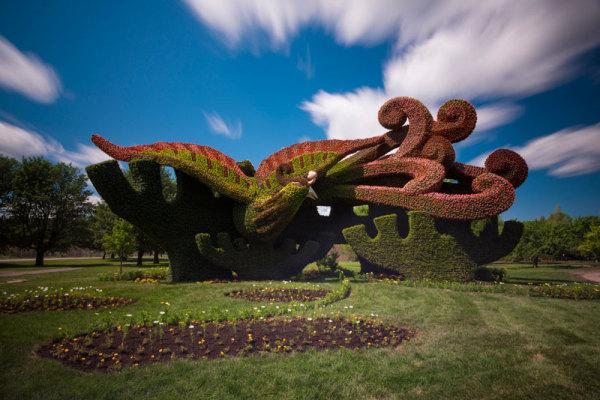 Вечнозеленые скульптуры на Mosaicultures Internationales: искусство, которое создается садовыми ножницами