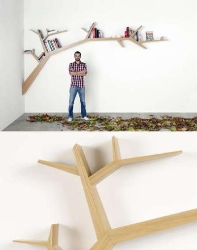 Книжная полка в форме дерева - идея оригинального использования веток в интерьере от Olivier Dolle