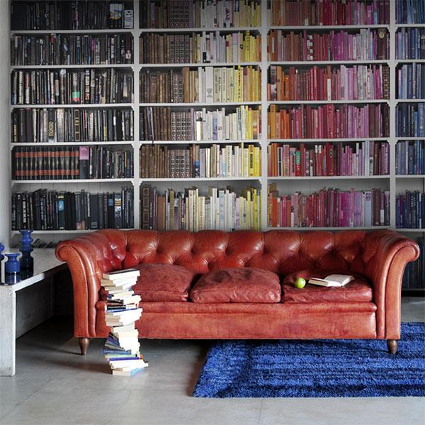 Обои, имитирующие книжный шкаф
