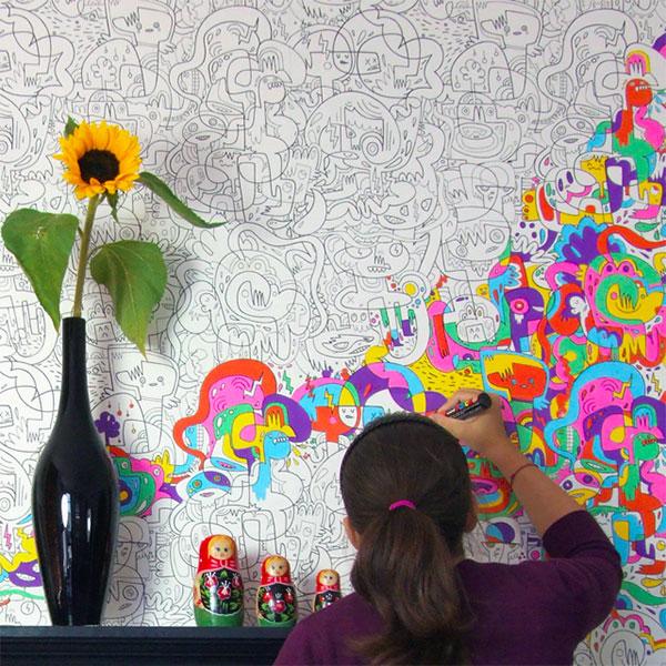 Обои-раскраски для детской комнаты