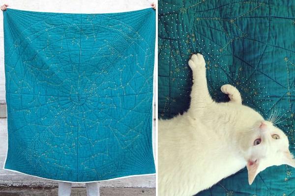 Constellation Quilt от Emily Fischer - необычное одеяло для желающих укрываться звездным небом