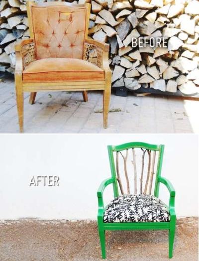 Преображение старого стула - идея оригинального использования веток в интерьере от Mr. Kate