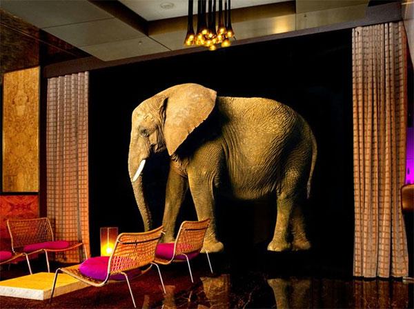 Слон на обоях