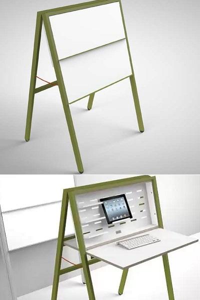 HIDEsk Folding Desk - креативный рабочий стол для тех, кто работает с планшета