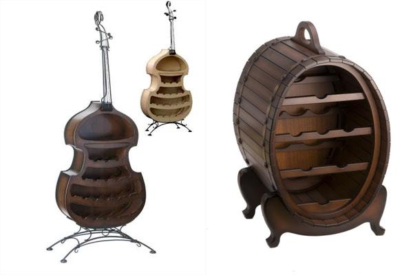 Оригинальные деревянные стеллажи для вина