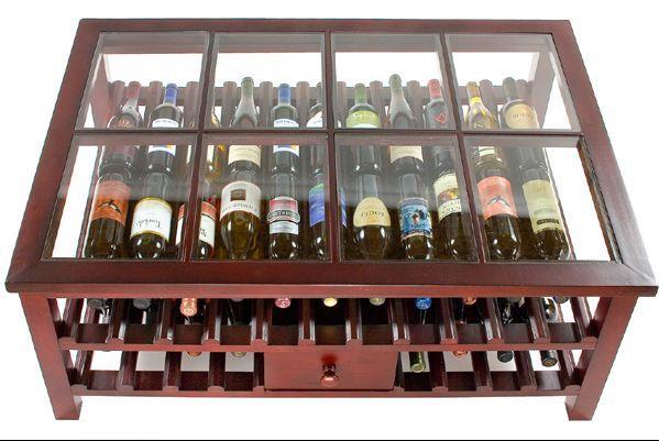 Стеллаж для вина из дерева и стекла