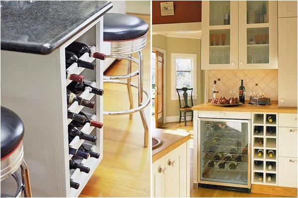 Стеллажи для вина в кухонных шкафчиках