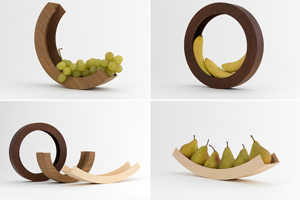 круглая деревянная ваза для фруктов