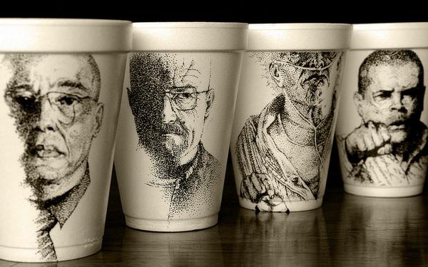 рисунки на стаканчиках из-под кофе от Cheeming Boey