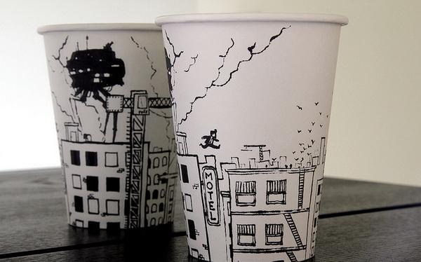 Произведения искусства на бумажных стаканчиках от Cheeming Boey