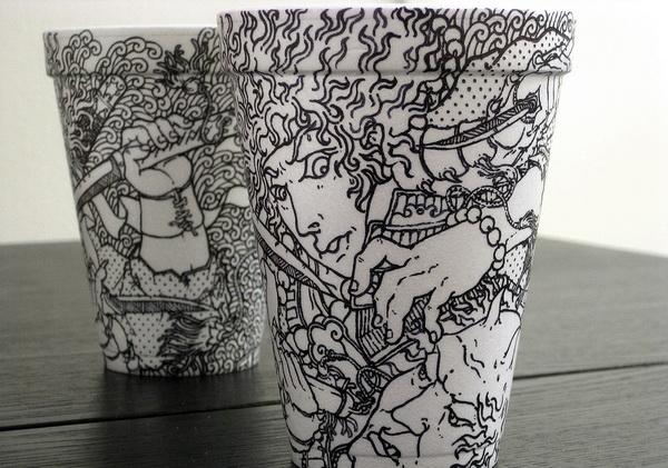 Разрисованные стаканчики из-под кофе от художника Cheeming Boey