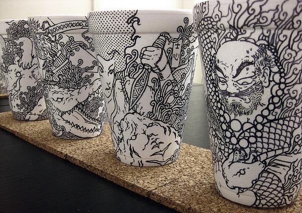 Бумажные стаканчики художника Cheeming Boey
