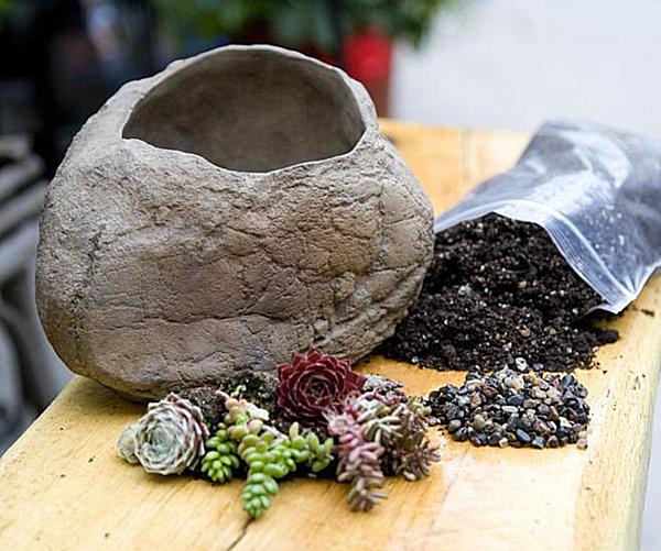 Камень в роли цветочного горшка