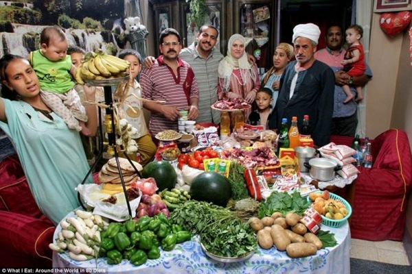 Семья из Египта, тратит на продукты 68,53 $ в неделю