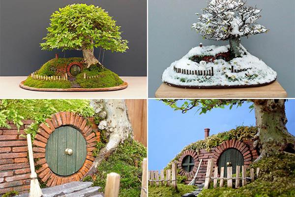 жилище для хоббитов в дереве-бонсай