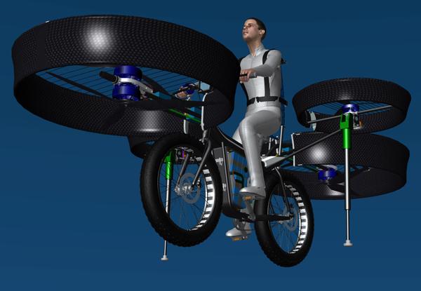 Flying Bike оснащен системой из четырех винтов, удерживающих его в воздухе