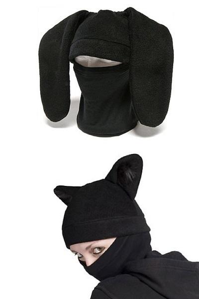 Анималистические шапки в стиле ниндзя от bunnywarez