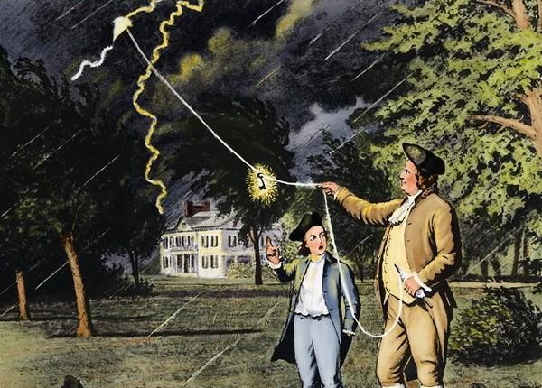 Бенджамин Франклин экспериментирует с природным электричеством, пытаясь поймать молнию при помощи воздушного змея