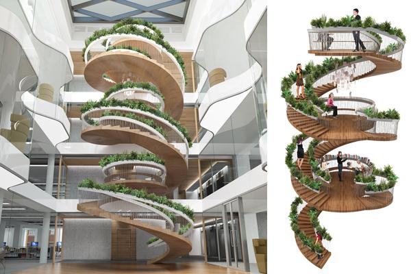 Зелёный мир в офисе: «живая» лестница от Paul Cocksedge