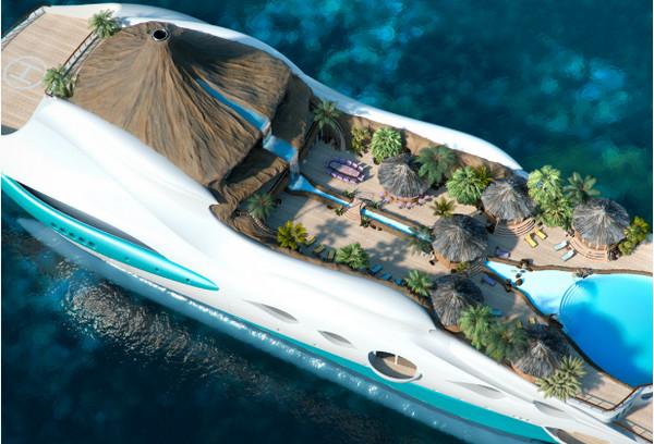 Яхта-остров с вулканом