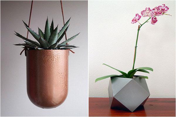 Подвесной вазон от Plantworks PDX  и Polyhedron Cachepot от Mayker Studio