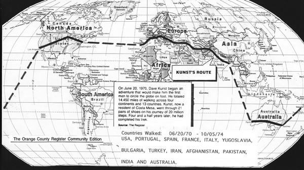 Карта путешествия Дэвида Кунста. Источник фото: newportbeachindy.com