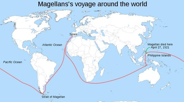 Карта маршрута экспедиции Магеллана. Источник фото: Википедия