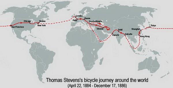 Карта поездки Томаса Стивенса. Источник фото: diletant.ru