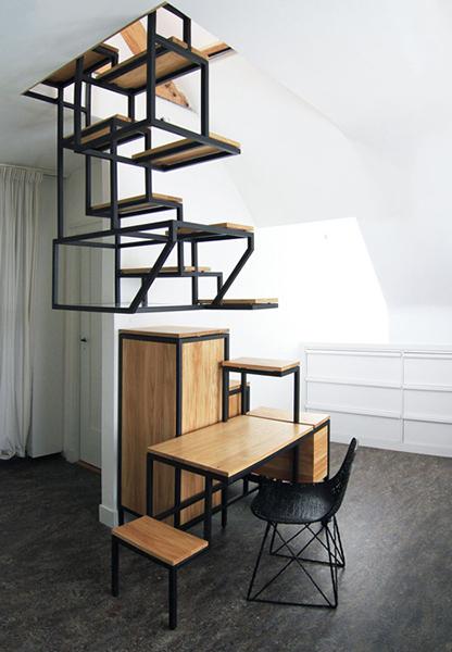 Навесная лестница и системы хранения от Mieke Meijer.