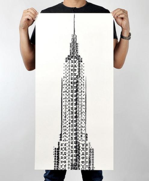 Empire State Building, нарисованный велосипедистами