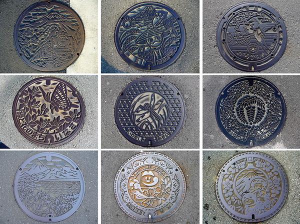 Яркие канализационные люки Японии
