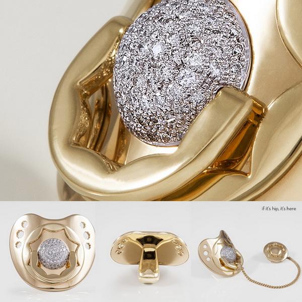 Золотая соска с бриллиантами.