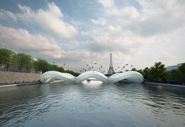 Концепт моста-батута через Сену.