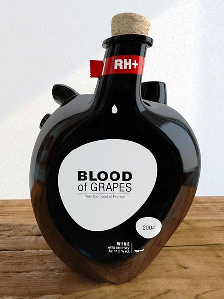 Виноградная кровь, бутылки для вина. Дизайн Constantin Bolimond.
