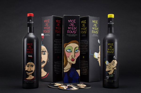 Забавные персонажи на упаковке вина.